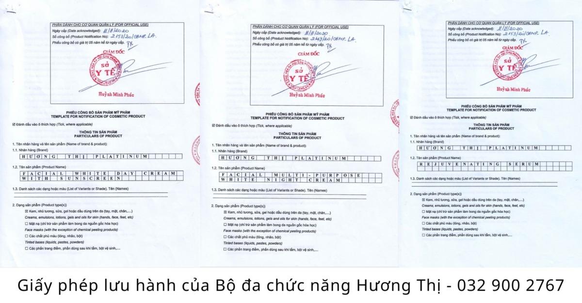 giấy phép lưu hành bộ đa chức năng hương thị platinum