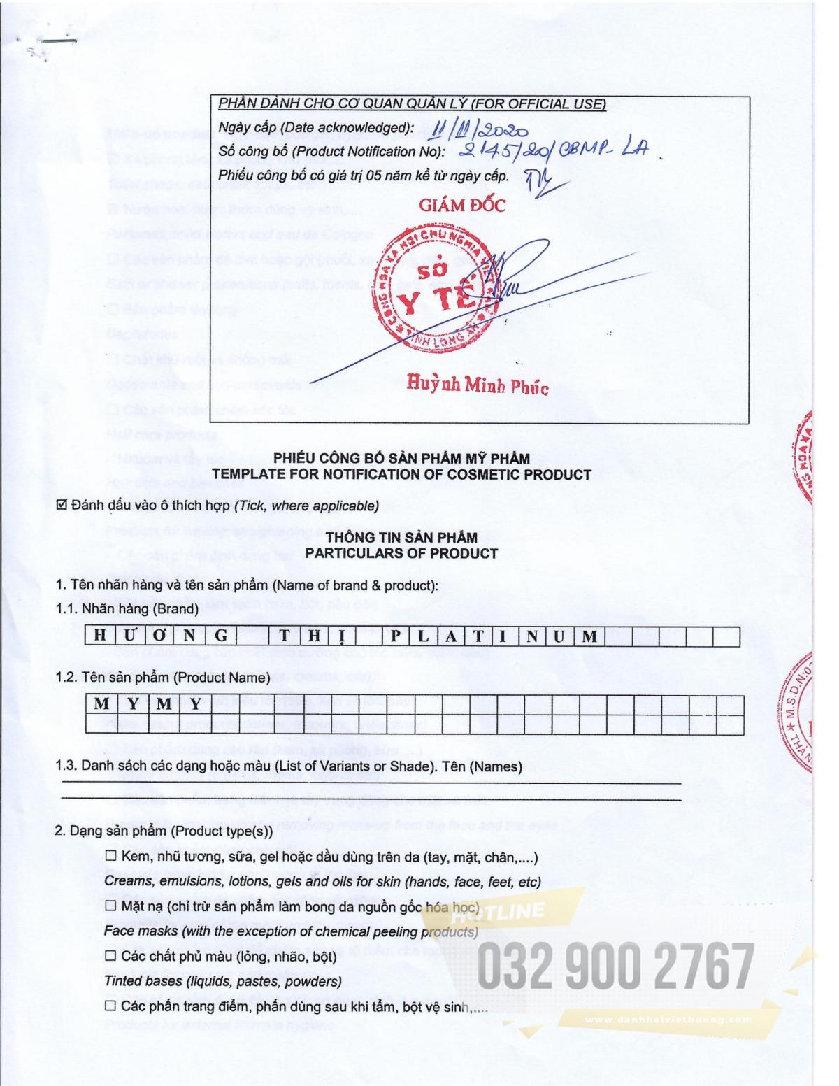 giấy chứng nhận từ Sở Y Tế cho sản phẩm nước hoa cao cấp Hương Thị