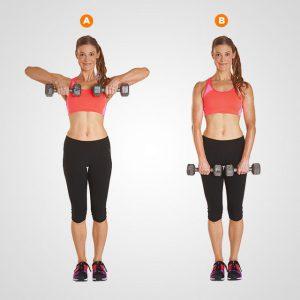 Giảm mỡ nách bằng cách nâng tạ với bài tập upright row