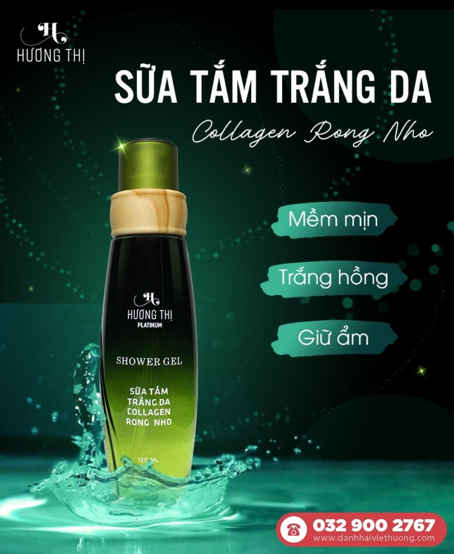 Sữa tắm trắng da Collagen Rong Nho Hương Thị