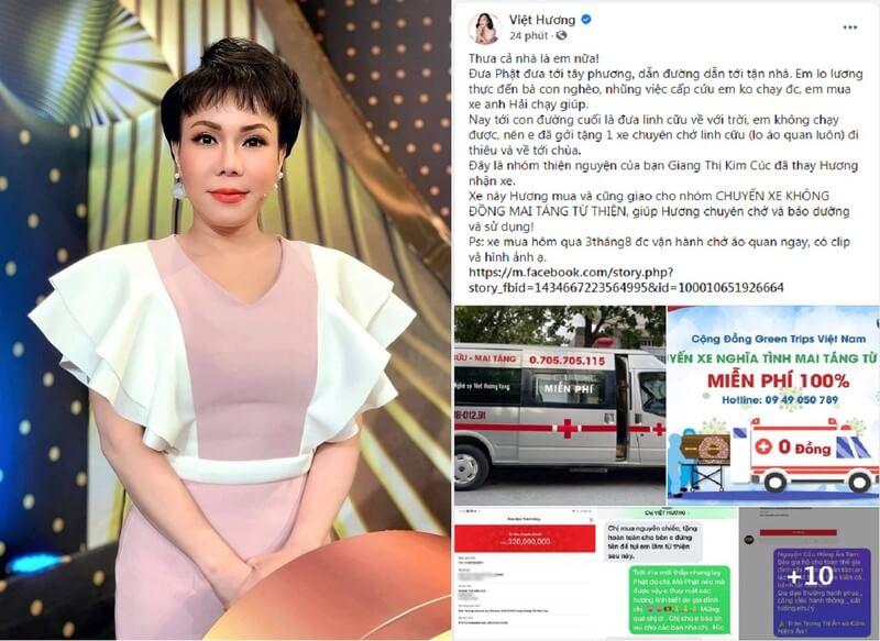 Nghệ sĩ Việt Hương tiếp tục tặng xe trị giá 320 triệu đồng cho nhóm 'Chuyến xe 0 đồng mai táng từ thiện'